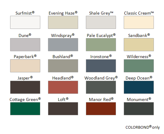 B&D Colour Chart